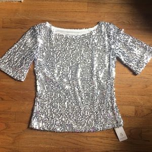 Silver Sequin Sparkle Top Size L